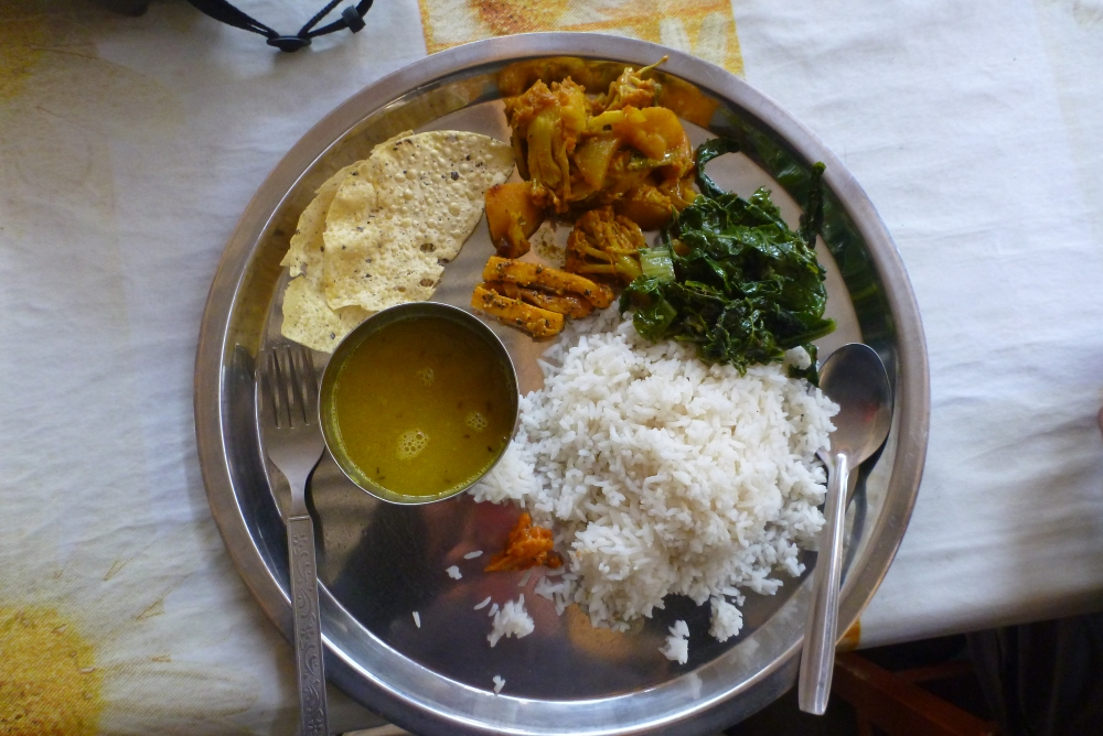 Some seriously good food in Nepal. Dhal bhat tarkari.