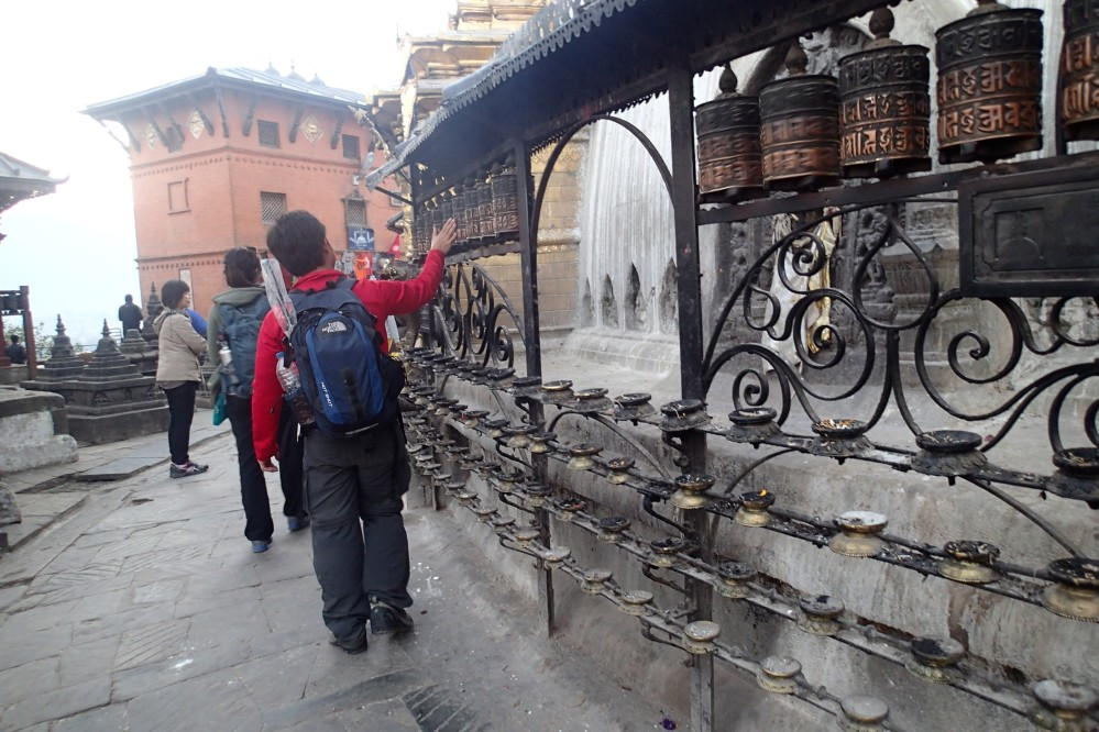 Prayer wheels. You will see lots of these on the trek as well.