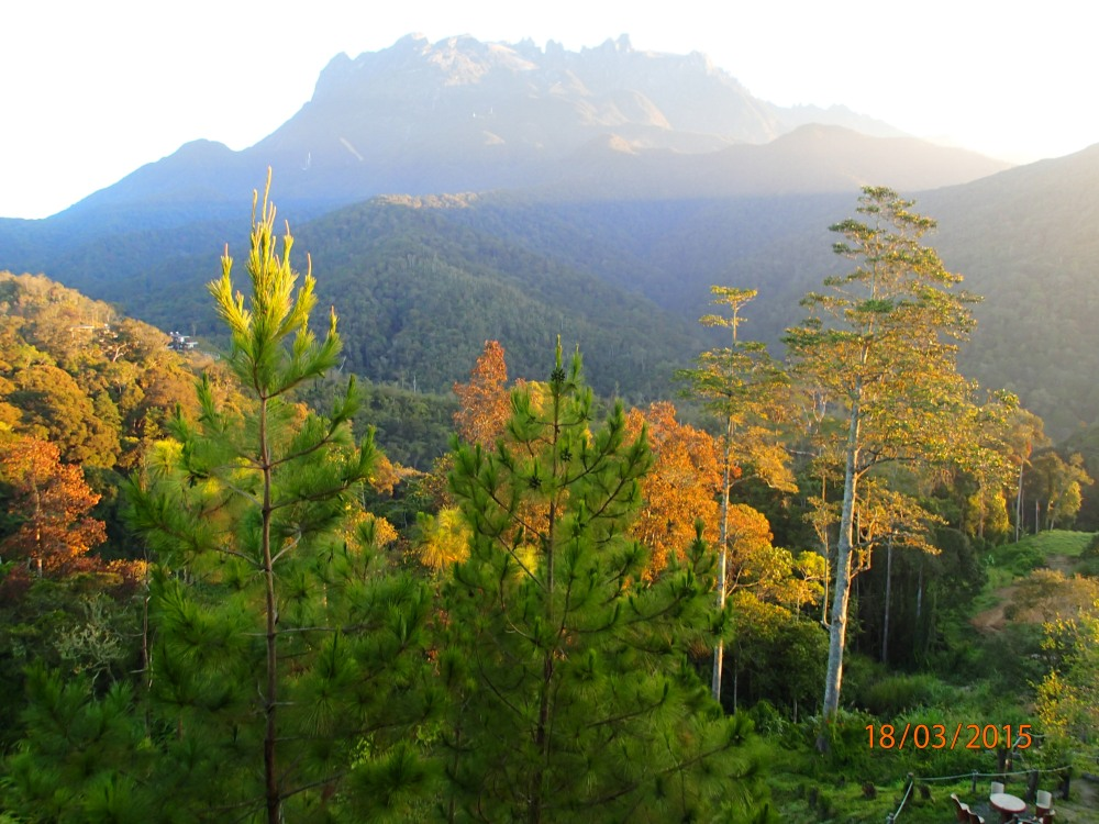 The view of Mt Kinabalu from our balcony.