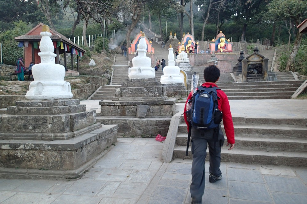 Approaching the monkey temple.